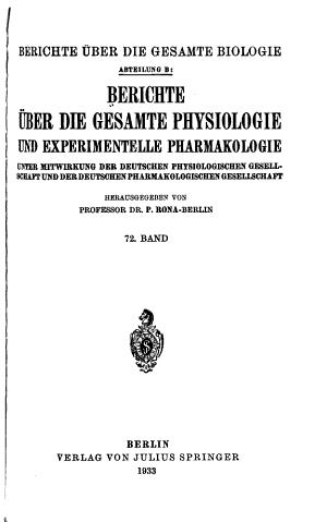 Berichte   ber die gesamte Physiologie und experimentelle Pharmakologie