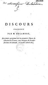 Discours prononcé par M. Delambre,... aux obsèques de Joseph-Jérôme de Lalande, le lundi 6 avril 1807