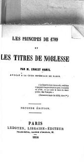 Les principes de 1789 et les titres de noblesse