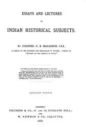Essays and Lectures on Indian Historical Subjects