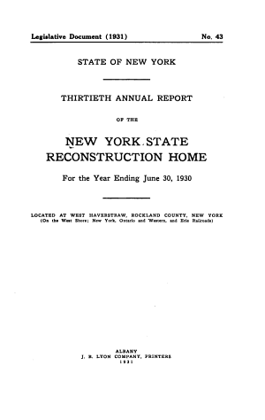 Annual Report of the New York State Reconstruction Home