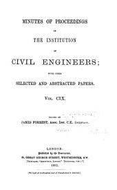 Minutes of Proceedings of the Institution of Civil Engineers: Volume 109
