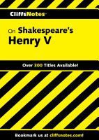 CliffsNotes on Shakespeare s Henry V PDF
