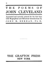 The poems of John Cleveland