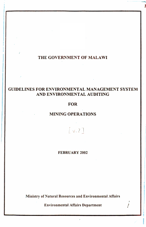 Guidelines for Environmental Management System and Environmental Auditing for  name of Operations   Mining operations PDF