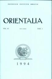 Orientalia: Vol.63