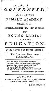 The governess; or, Little female academy, by the author of David Simple