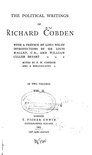 The Political Writings of Richard Cobden PDF