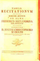 Tabula recitationum per instans semestre in Akademia Regia Friderico-Alexandrina Erlangensi instituendarum: SS 1781