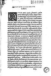 ( Sententiae) (Ed. P. Lagnerius)