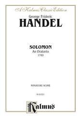 Solomon (1749), An Oratorio: Miniature Score
