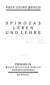 Spinozas Leben und Lehre PDF