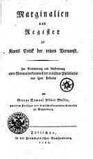 Marginalien und Register zu Kants Critik der reinen Vernunft PDF