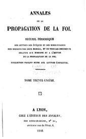 Annales de la propagation de la foi: Volume31