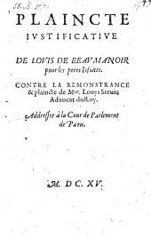 Plaincte justificative pour les Jesuites contre la remonstrance et plaincte de Louis Servin