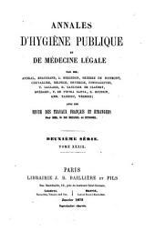 Annales d'hygiène publique et de médecine légale: Volume 39