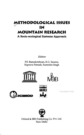 Methodological Issues in Mountain Research PDF