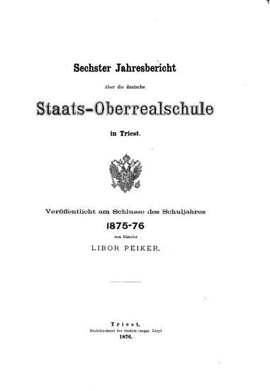 Jahresbericht der deutschen Staats Oberrealschule in Triest PDF