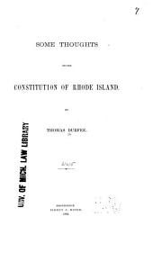 Some Thoughts on the Constitution of Rhode Island
