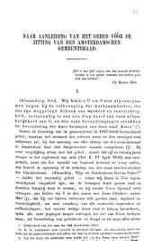 Naar aanleiding van het gebed vóŕ de zitting van den Amsterdamschen gemeenteraad