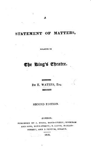A Statement of matters relative to the King s Theatre  Second edition