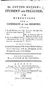 Manuductio ad Ministerium. Directions for a candidate of the Ministry, etc