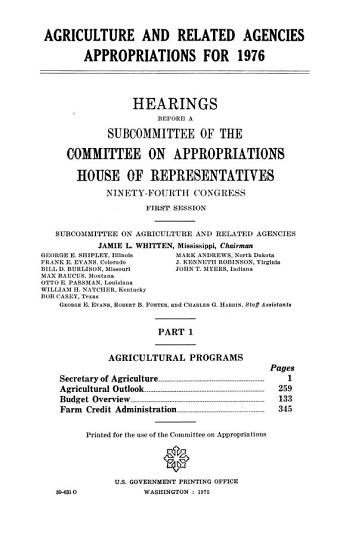 Agriculture and Related Agencies Appropriations for 1976 PDF