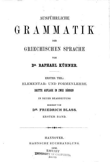 Ausf  hrliche Grammatik der griechischen Sprache PDF