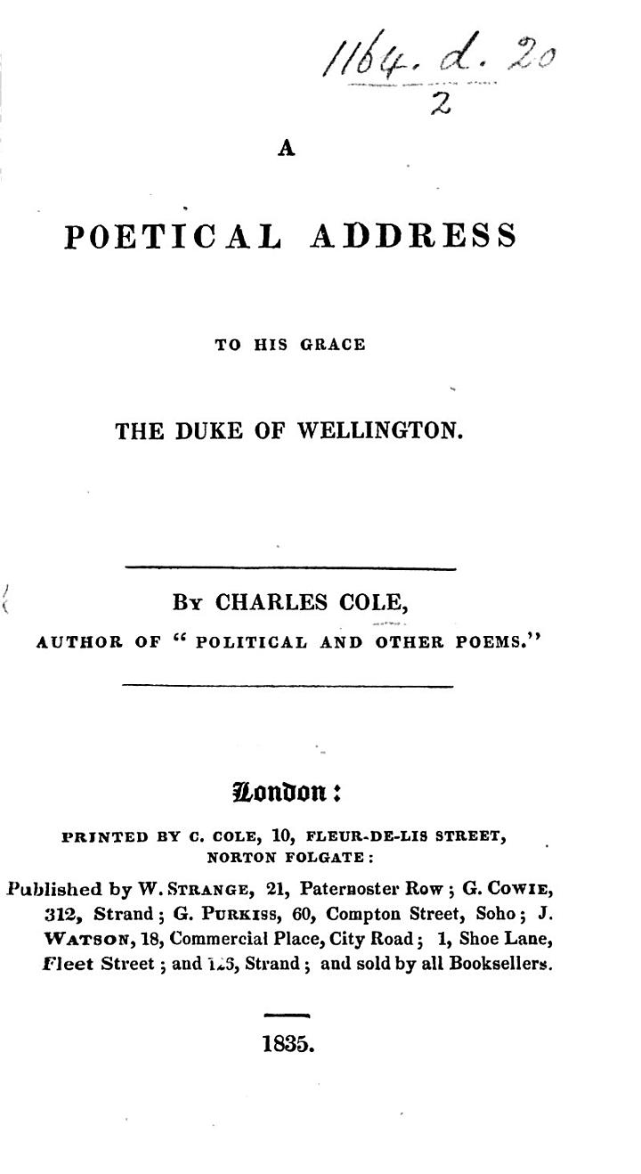 A Poetical Address to his Grace the Duke of Wellington