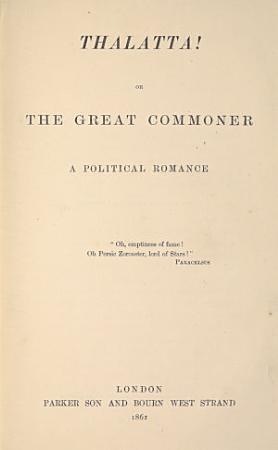 Thalatta  Or  The Great Commoner PDF