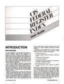 CIS Federal Register Index PDF