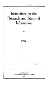 Instructions on the Research and Study of Information 1917