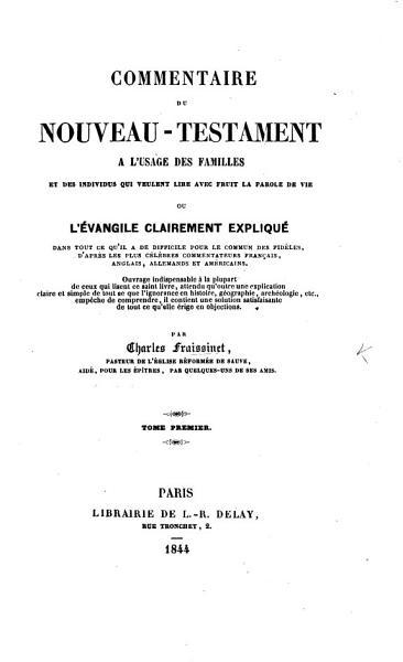 Download Commentaire du Nouveau Testament    l usage des familles  etc Book