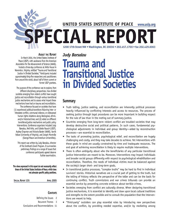 Trauma and Transitional Justice in Divided Societies