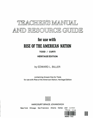 Teacher s Manual and Resource Guide