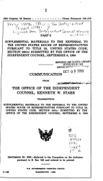 Referral from Independent Counsel Kenneth W. Starr in Conformity with the Requirements of Title 28, United States Code, Section 595(c)