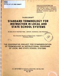 Standard Terminology For Instruction In State And Local School Systems Book PDF