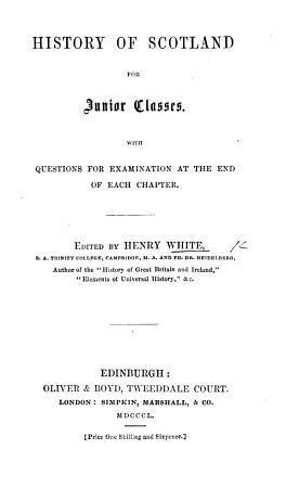 History of Scotland for Junior Classes PDF