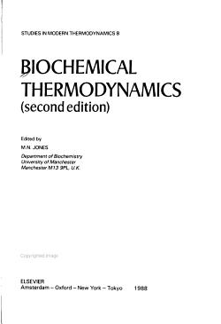 Biochemical Thermodynamics PDF