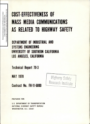 Cost effectiveness of Mass Media Communications as Related to Highway Safety PDF
