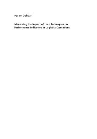 Measuring the Impact of Lean Techniques on Performance Indicators in Logistics Operations PDF