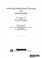 Analyzing Multicultural Teaching and Learning Styles PDF