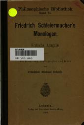 Friedrich Schleiermacher's Monologen