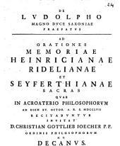 De Ludolpho Magno Duce Saxoniae Praefatus