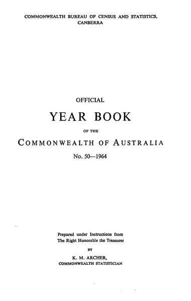 Download Official Year Book of the Commonwealth of Australia No  50   1964 Book