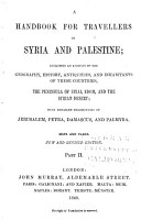 A Handbook for Travellers in Syria and Palestine     Maps and Plans PDF