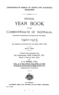 Official Year Book of the Commonwealth of Australia  No  9   1916 PDF