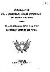 Patrocinio gratuito pei poveri: rr. ll. pp. 20 novembre 1847, n. 646 e, Edizione 647