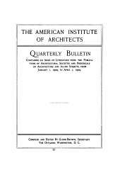 Quarterly Bulletin Containing an Index of Literature from the Publications of Architectural Societies and Periodicals on Architecture and Allied Subjects: Volume 10