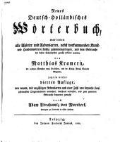 Neues deutsch-holländisches Wörterbuch ..
